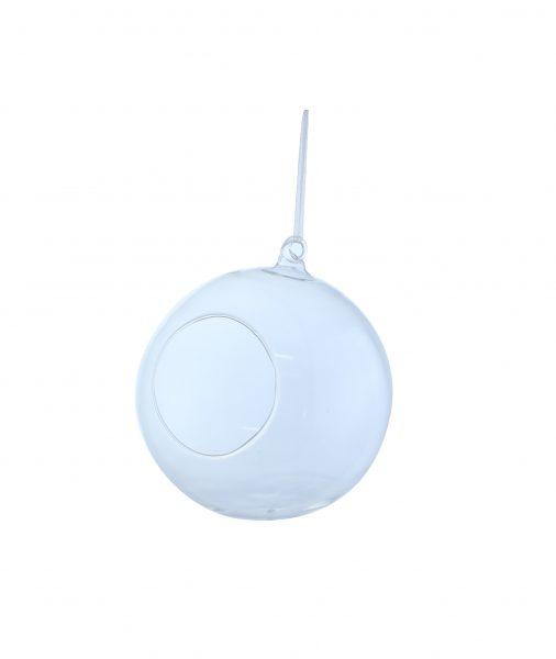 Boule en verre diametre 8cm a suspendre