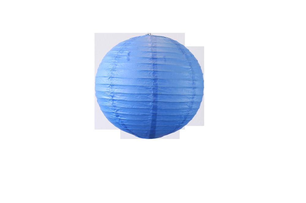 Lampion boule papier 30cm bleu roi