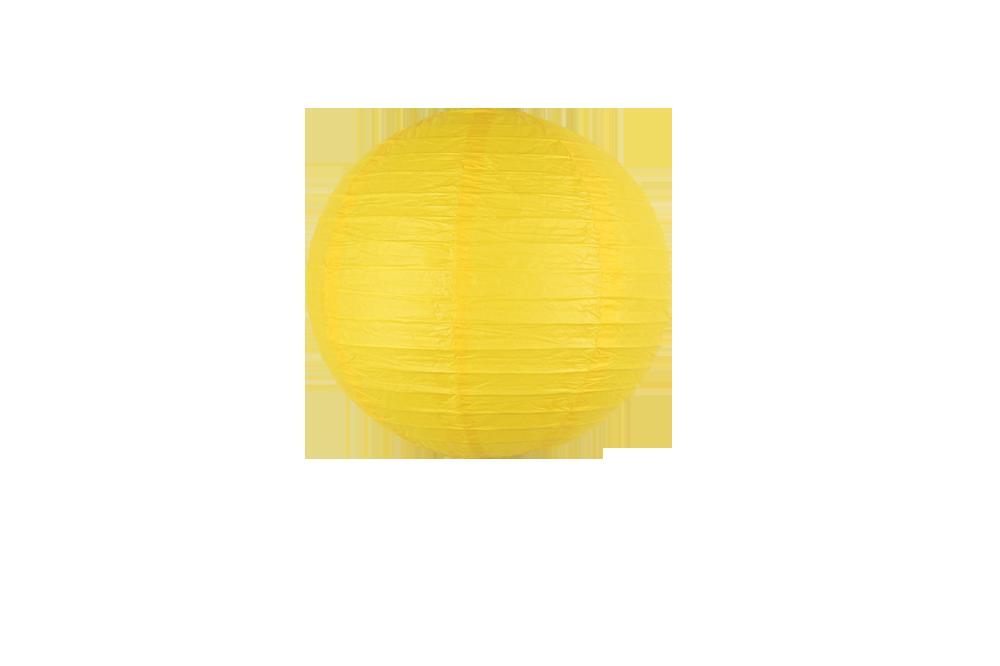 Lampion boule papier 30cm jaune