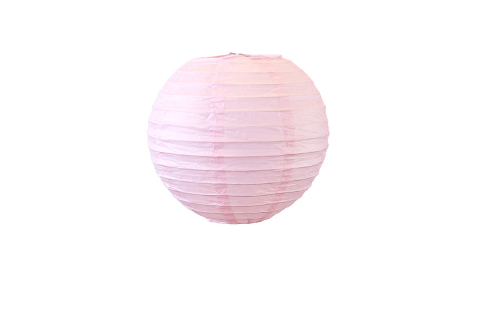 Lampion boule papier 30cm rose pale 1