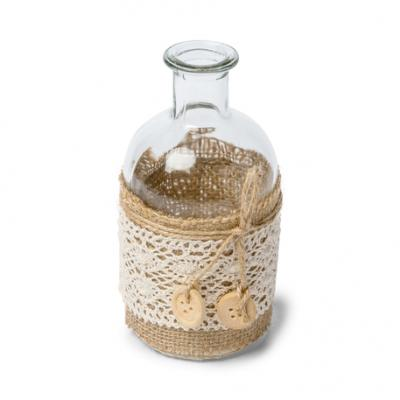Vase boheme toile de jute dentelle 6 5x13 5